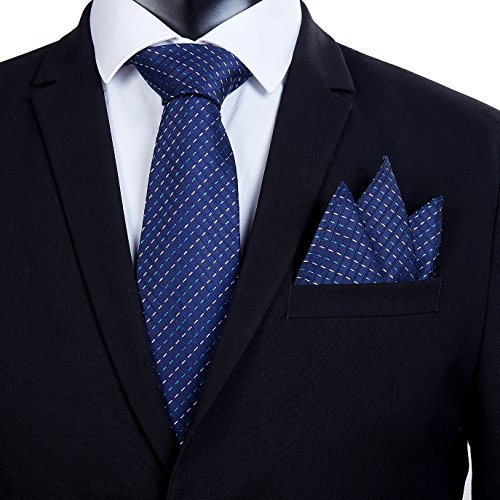 [Black Friday Offer]100% Silk Ties Necktie Set for Men Handmade Tie and Pocket Square Set with Gift Box by WITZROYS, Blue Lines #Hs04, Large from WITZROYS