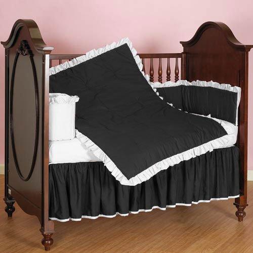 Nursery Baby Ruffle Reversible Toddler Bed Bedding Set 100% Egyptian Cotton 500 TC 5-Piece Set Fitted Sheet, Dust Ruffle Skirt,Comforter,Flat Sheet,Pillowcase (Black/White,Toddler Bed)