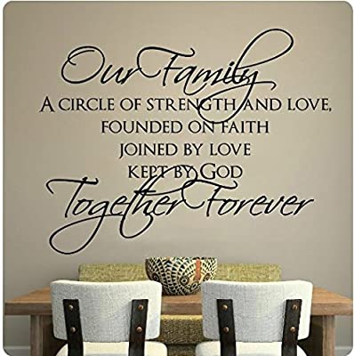 """60"""" Our Family Circle of Strength and Love Founded on Faith Joined By Love Kept By GOD Together Forever Wall Decal Sticker Art Mural Home Décor Quote"""