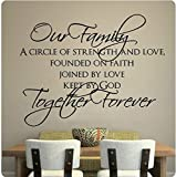 60'' Our Family Circle of Strength and Love Founded on Faith Joined By Love Kept By GOD Together Forever Wall Decal Sticker Art Mural Home Décor Quote