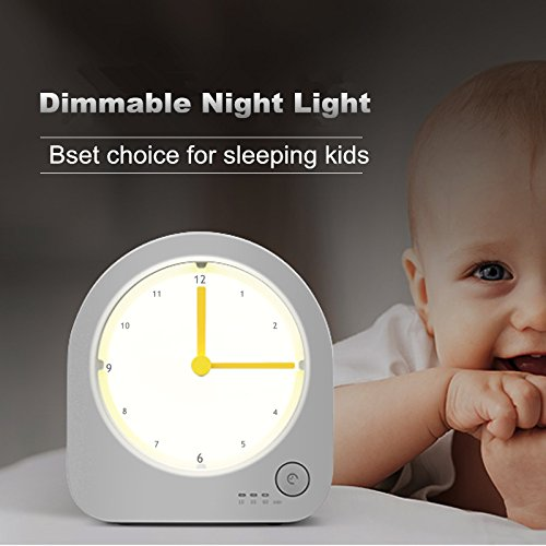 Nightlight clock dimmable led night light with rechargeable desk clockbaby nursery kids bedroom - Timer night light for toddlers ...