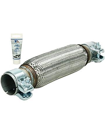 ECD Germany Tubo Flexible de Acero Inoxidable 50 x 230 mm con 2 Abrazaderas Montaje sin