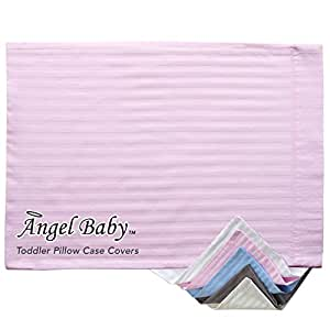 """Angel Baby Toddler Pillow Case Cover - PINK, 100% NATURAL Cotton Percale, 400 Thread Count Sateen Weave, Machine Washable, Tumble Dry - for Kids Bedding - (14"""" x 20.5"""")"""