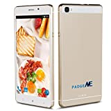 Padgene New Version Vogue 6'' Android 5.1 Unlocked Smartphone, 4 Cores, Dual Sim, Dual Camera, 2G / 3G GSM Touchscreen Smartphone ( Case Included ), Gold