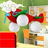 Wei-d Children'S Room Chandelier Pendant Light Lamp Energy Saving Creative Room Cartoon Lights , red
