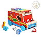 Miric Pull Toy Xylophone Wooden Shape with Colorful Keys, 8 Tones for Baby Learning Music