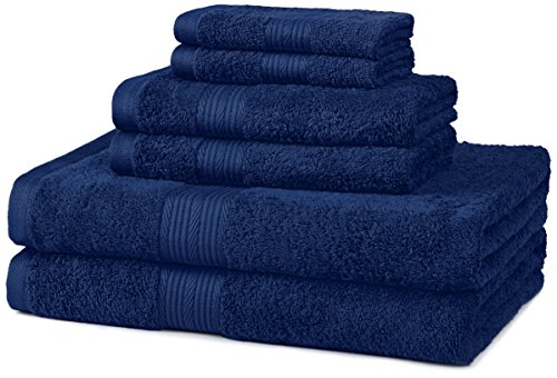 (AmazonBasics Fade-Resistant Towel Set, 6-Piece, Navy Blue)