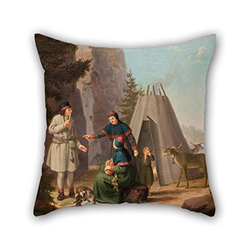 Cushion Covers Of Oil Painting Pehr Hillestr?m - The Costumes Of The Lapponians For Him Valentine Dance Room Sofa Divan Teens Boys 16 X 16 Inches / 40 By 40 Cm(two Sides)