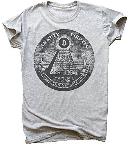 Uomo Idcommerce Maglietta Grigio Illuminati Bitcoin Pyramid Da 11p0q