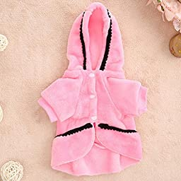 Puppy Clothes,Neartime Dog Coat Jacket Pet Outfit Winter Apparel Yorkie Garment (S, Pink)