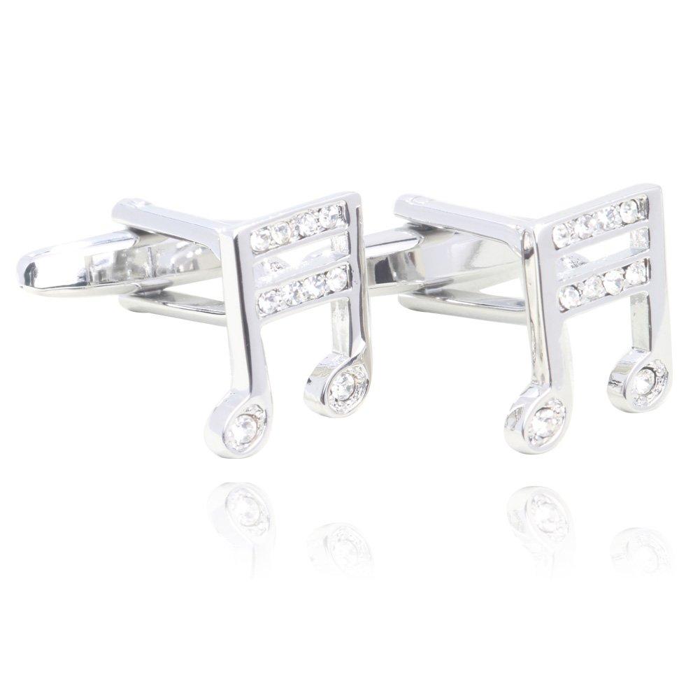 Music Note Crystal Cufflinks 18K Platinum Plated Men Shirt Cuff Buttons Fashion Cuff Studs Chenghai cufflinks03-1
