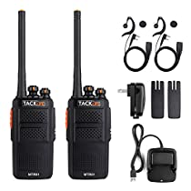 Tacklife Walkie Talkie Rechargeable 1300MAh Li-ion Battery, Two Way Radio UHF 400-470MHz Transceiver Earphone Long Working Distance 16 Channels Walky Talky | MTR01
