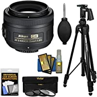 Nikon 35mm f/1.8 G DX AF-S Nikkor Lens with Pistol Grip Tripod + 3 UV/CPL/ND8 Filters + Kit for D3200, D3300, D5300, D5500, D7100, D7200 Cameras