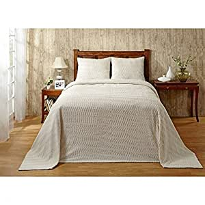 1 piece oversized king bedspread chenille ivory lightweight cotton material tufted. Black Bedroom Furniture Sets. Home Design Ideas
