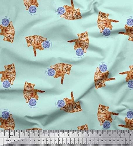 Soimoi Green Rayon Crepe Fabric Wool & Cat Animal Printed Fabric 1 Yard 46 Inch Wide