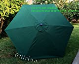 "BELLRINO DECOR Replacement Hunter Green "" STRONG & THICK "" Umbrella Canopy for 9ft 6 Ribs (Canopy Only) For Sale"