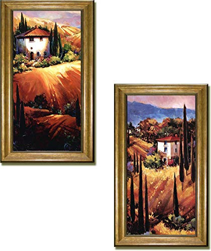 Artistic Home Gallery Tuscan Hills & Golden Tuscany by O'Toole 2-pc Premium Gold Framed Canvas Set (28 in x 16 in Each Framed Piece in Set, Ready-to-Hang)