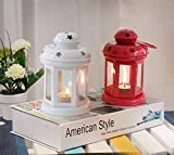 TiedRibbons home decor hanging lantern with tealight Candle Set of 2(White and Red)