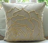 """Handmade Ecru Shams, Jute Rose Flower Pillow Shams, 24""""x24"""" Pillow Sham, Square Cotton Linen Shams, Modern Pillow Shams - Linen Rose"""