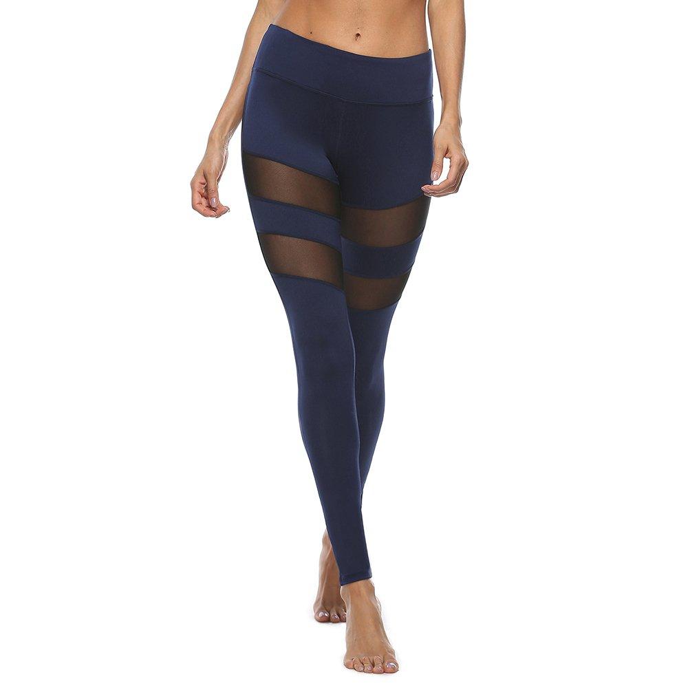 Chaiyan Damensyoga Hosen Outdoor Sports Hosen Fitness Sexy Cutout Leggings Enge Hose (Lycra Stoff) Blau Schwarz Weiß Dunkelblau Hose