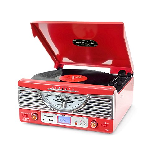 Pyle PTR8UR Retro Turntable with Vinyl-to-MP3 Encoding, USB & SD Memory Card Readers, AM/FM Radio, Aux (3.5mm) Input, MP3 Digital Audio File Playback (Red) by Pyle