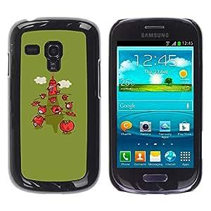 Be Good Phone Accessory // Dura Cáscara cubierta Protectora Caso Carcasa Funda de Protección para Samsung Galaxy S3 MINI NOT REGULAR! I8190 I8190N // Minimalist Strawberry Green Cart