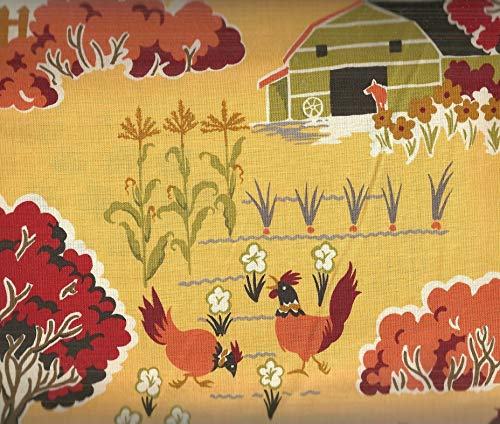 Farmyard Scenic barns Chickens Sentimental Studios Moda Fabric ()