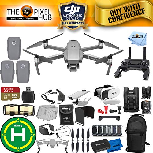 DJI Mavic 2 Pro 3 Battery MEGA Accessory Bundle with 32GB Micro SD, Sling Backpack, Filter Kit, Drone Vest, Landing Pad + Much More ()