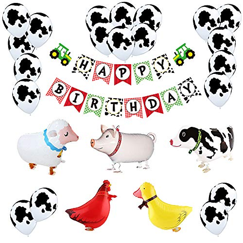 Farm Birthday Party Decoration Pack | Farm Animal Theme Bday Party Banner Balloon Hanging Decor Set -