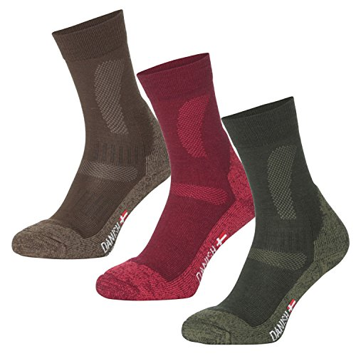 DANISH ENDURANCE Merino Wool Hiking Socks Crew for Spring & Summer, Trekking, Performance, Outdoor, Men Women Kids, Multi 1/3 Pairs