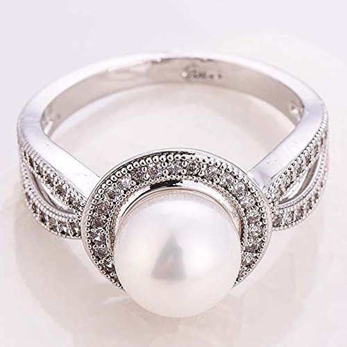 Women Pearl White Sapphire 925 Sterling Silver Ring Wedding Party Jewelry New Size 6-10 8