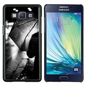 YiPhone /// Prima de resorte delgada de la cubierta del caso de Shell Armor - Rain City Lights Negro Blanco - Samsung Galaxy A5 A5000