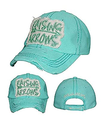 35f5bbf221fa03 Amazon.com: YK001 Raising Arrows Mint Green Washed Vintage Baseball Cap.:  Jewelry