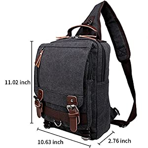 Berchirly One Strap Sling Canvas Cross Body 13.3-inch Laptop Messenger Bag Travel Shoulder Backpack
