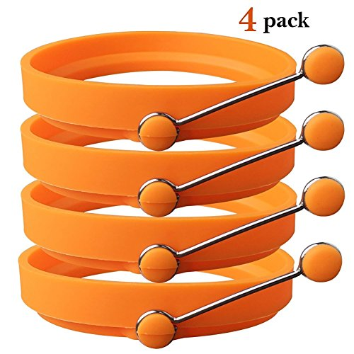 Egg Rings,Nonstick Silicone Round Egg Rings and Pancake Breakfast Sandwiches Mold Maker,4 Pack Orange