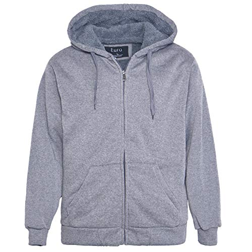 Erin Garments Men Zip Hoodies Solid Sherpa Lined Ultimate Heavyweight Winter Sweatshirts Mens Casual Jacket
