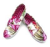 EASY21 Women Canvas Round Toe Slip on Flat Fashion Sneaker,Fuchsia Hawi Flower,Size 7.5