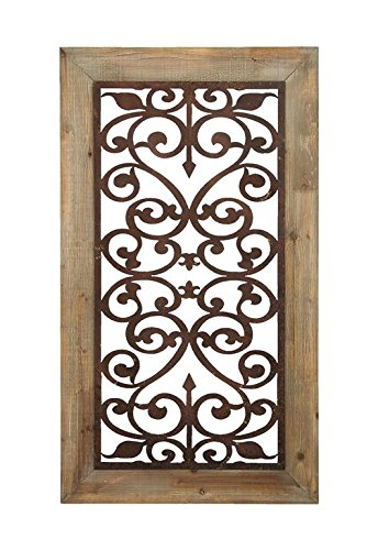 Deco 79 85971 Distressed Wood & Brown Metal Wall Art Panel w