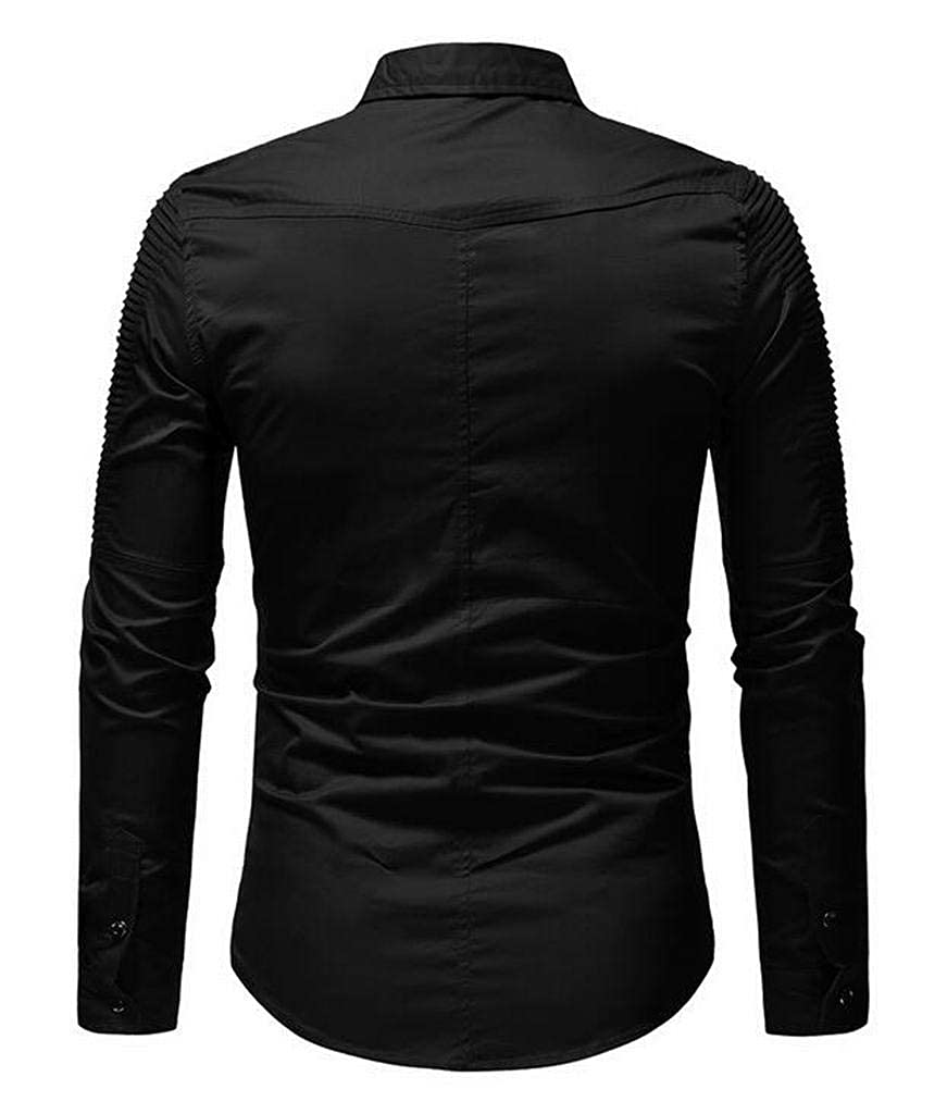 XTX Mens Pure Color Regular Fit Ruched Long Sleeve Formal Button Up Dress Shirt