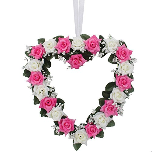 (LingStar Heart-Shaped Rose Door Wall Hanging Wreaths Wedding Festival Decoration (Pink and White) 1PCS)