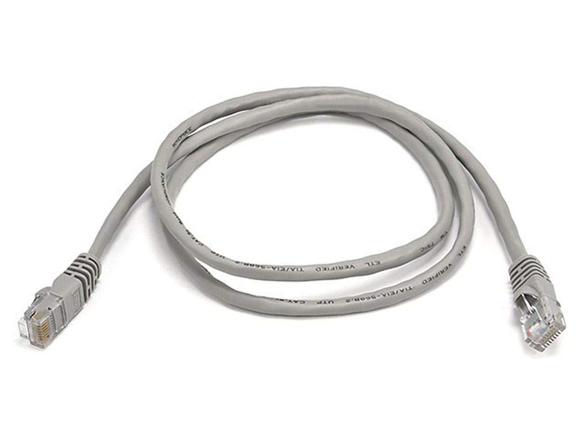 Gray Monoprice 10FT Cat5e 350MHz UTP Ethernet Network Cable