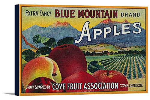 Blue Mountain Apple Crate Label (12x10 7/8 Gallery Wrapped Stretched Canvas)