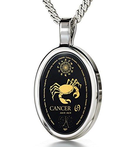 14k Crab Pendant (14k White Gold Zodiac Pendant Cancer Necklace 24k Gold on Onyx Stone, 18