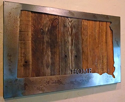 Custom State Map with ''HOME'' - State Love - Metal Art - Reclaimed Wood and Aged Steel by LegendaryFineArt (Image #3)