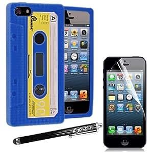 Sleek Gadgets–Retro de cinta de casete Funda de silicona con protector de pantalla y lápiz digital para Apple iPhone 5S