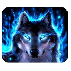 Generic Personalized Luminous Wolf Cool Blue Flame for Rectangle Mouse Pad by icecream design