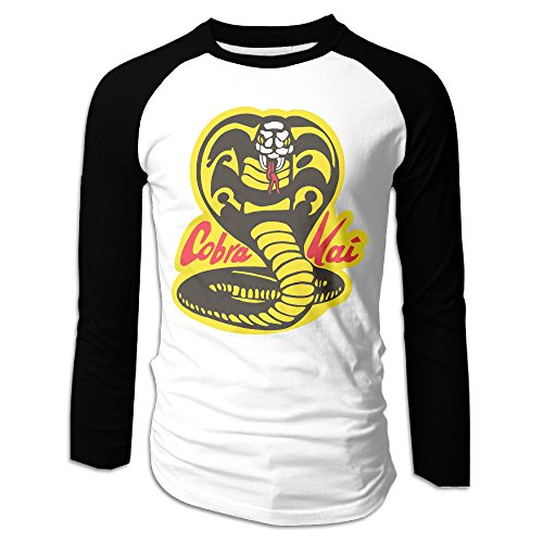 Men's Cobra Kai Logo Long Sleeve Raglan Baseball (Cobra Kai Logo)