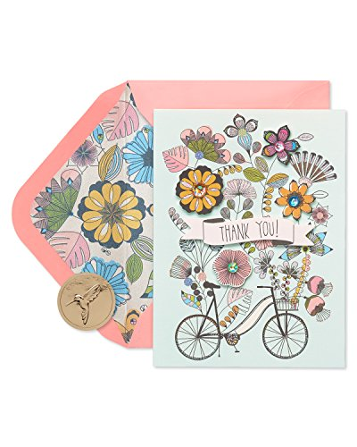 Papyrus Flowers & Bike Handmade Boxed Thank You Blank Note Cards with Glitter, 8-Count ()