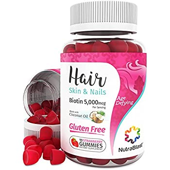 NutraBlast Biotin 5000 mcg Enhanced with Coconut Oil - Hair, Skin and Nails Vitamins - Made in USA (90 Strawberry Gummies)