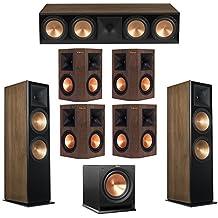 Klipsch 7.1 Walnut System with 2 RF-7 III Floorstanding Speakers, 1 RC-64 III Center Speaker, 4 Klipsch RP-250S Surround Speakers, 1 Klipsch R-112SW Subwoofer